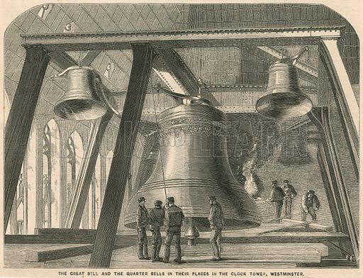 The great bell and the quarter bells in their place in the Clock Tower, Westminster