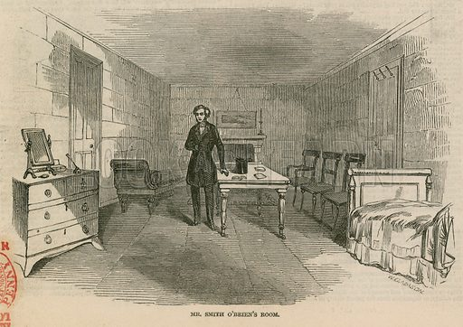 Mr Smith O'Brien, MP, in custody at the House of Commons: Mr Smith O'Brien's room; from The Illustrated London News, 9 May 1846; showing the temporary building errected for the accomodation of Parliamentary officers.