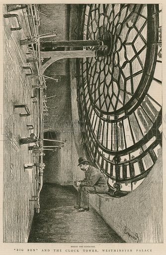Behind the clock-dial, Big Ben and the Clock Tower, Westminster Palace