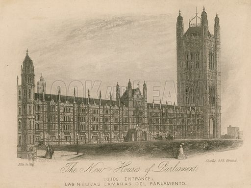 The new Houses of Parliament, Palace of Westminster, London; Lords Entrace.