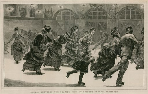 London Sketches: The Skating Rink at Prince's Ground, Brompton; from The Graphic, 3 April 1875.