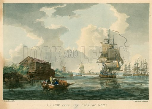 A view of the Isle of Dogs; published 24 October 1799.