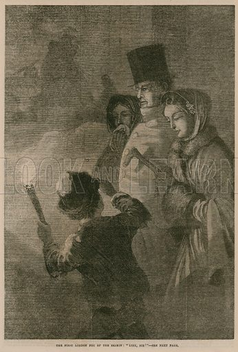 The first London fog of the season, depicting a child holding a flaming torch as he guides people through the fog. Published in the Penny Illustrated Paper, 31 October 1868.
