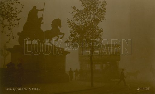 Postcard with an image of the statue of Queen Boadicea in the smog, by Westminster Bridge, London.