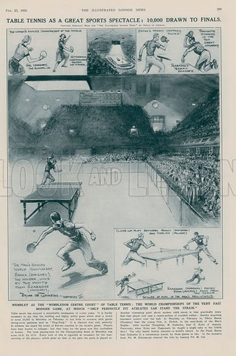 Table tennis as a great sports spectacle: 10,000 drawn to finals, at Wembley, London. Published in the Illustrated London News, 23 February 1935.