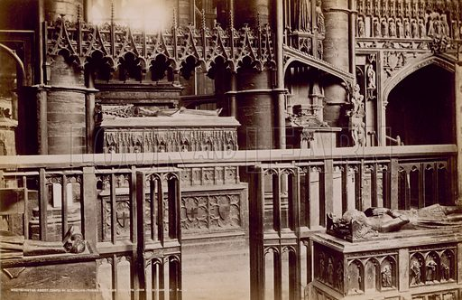 Postcard with an image of tombs in the Chapel of St Edmund, in Westminster Abbey, London.
