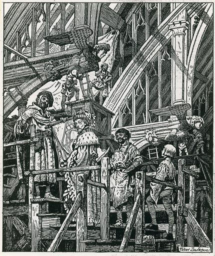 Building Westminster Hall.  Group of people, one wearing ceremonial robes, on steps at Westminster Hall, London.