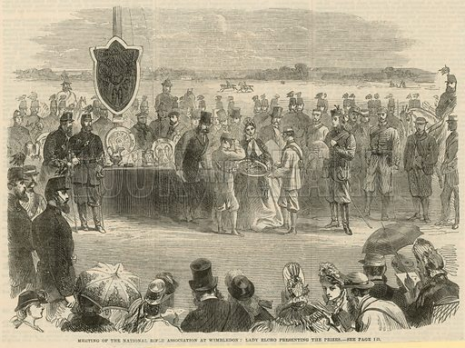 Meeting of the National Rifle Association at Wimbledon: Lady Elcho presenting the prizes. Published in the Illustrated London News, 20 July 1864.