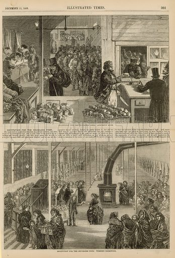 Page from the Illustrated Times (published on 11 December 1858), with illustration depicting an instititution for the houseless poor, with views of the admission room and the women's dormitory.