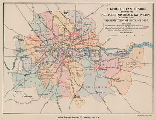Map of Metropolitan London showing the Parliamentary Boroughs and Divisions according to the Redistribution of Seats Act 1885.