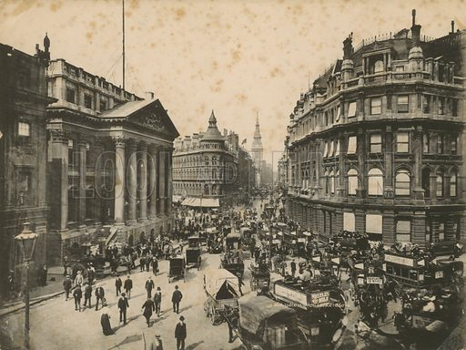 Mansion House, Queen Victoria Street, and Cheapside, London; photograph.