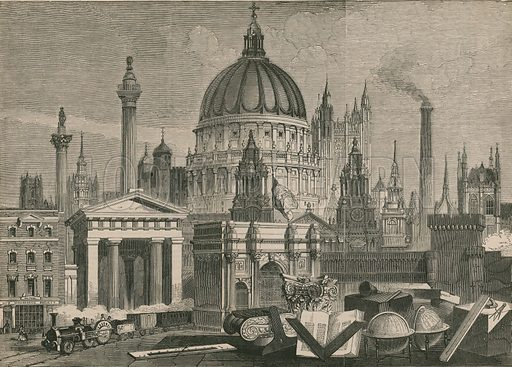 The principal architectural works of Great Britain, grouped with Masonic Emblems; from The Historic Times, 1849.
