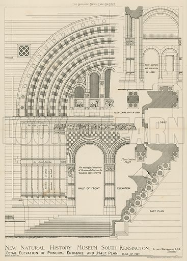 New Natural History Museum, South Kensington, London; detail elevation of principal entrance and half plan; from The Building News, 13 December 1878.