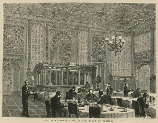 The refreshment room at the House of Commons; from The Graphic, 17 February 1872.