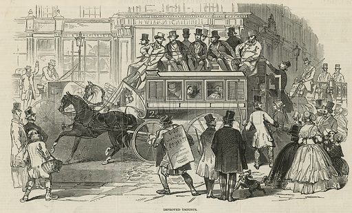 The newly improved Omnibus from Adams & Co; from The Illustrated London News, 1 May 1847.