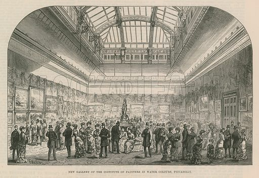 New gallery of the Institute of Painters in Water Colours, Piccadilly, London. Published in the Illustrated London News, 28 April 1883.