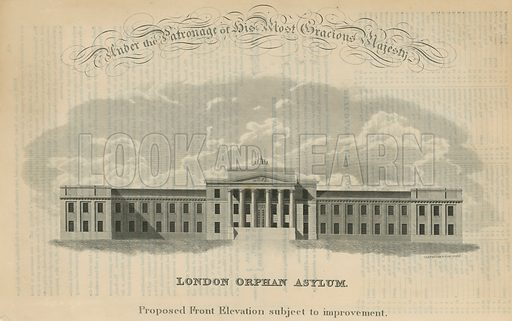 Proposed front elevation, subject to improvement, of the London Orphan Asylum.