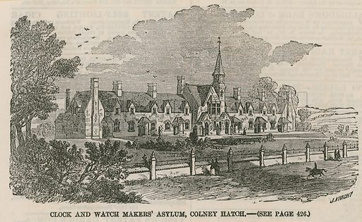 Clock and watch makers' asylum, Colney Hatch. Published in the Illustrated London News, 24 April 1858.