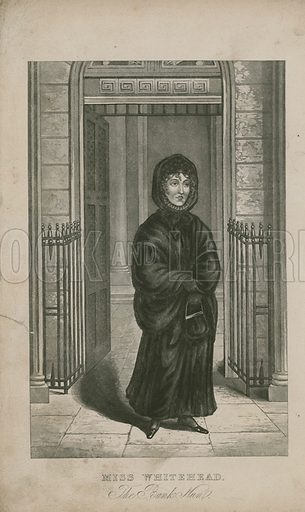 Portrait of Miss Whitehead, the bank nun. Sister of Paul Whitehead, a former Bank Clerk who was sentenced to death for forging an acceptance to a bill. She lost her mind after his death and for some 25 years following this she went to the bank daily awaiting him under the delusion that he was still and employee. Published in the New Wonderful magazine.