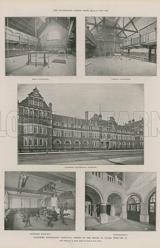 Page from the Illustrated London News (published on 3 March 1894), with a series of illustrations depicting Battersea Polytechnic Institute, opened by the Prince of Wales: men's gymnasium; women's gymnasium; Battersea Polytechnic Institute; engineers' workshop; and the entrance hall.