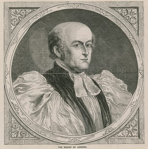 Portrait of Charles Blomfield, Bishop of London. Published in the Historic Times, 1849.