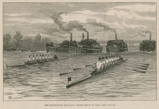 The universities' boat race: Oxford begings to lead. Published in the Illustrated London News, 8 April 1882.