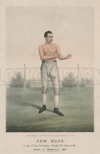 Portrait of boxer Jem Mace, holding a boxing pose.