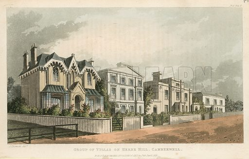 Group of villas on Herne Hill, Camberwell. Published in January 1825.