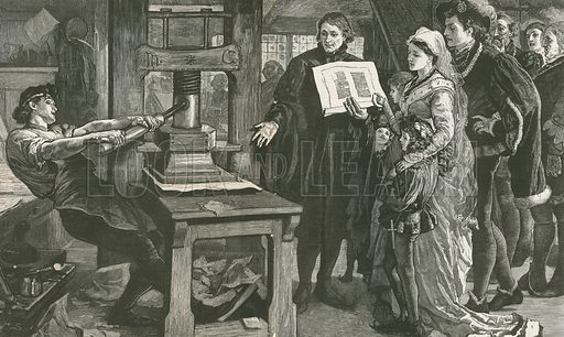 The Caxton Celebration – Wiliam Caxton showing specimens of his printing to King Edward IV and his Queen. Published in The Graphic, 30 January 1877.