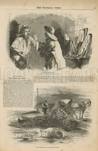 Page from The Pictorial Times (published in 1846), with an article titled London Burials, with two illustrations depicting Modern Resurrectionists.