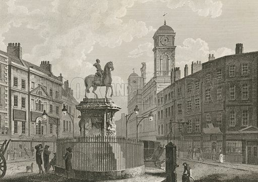 The statue of Charles I on horseback, marking the site of Charing Cross, dedicated by permission to his grace the Duke of Northumerland. Published in April 1792.