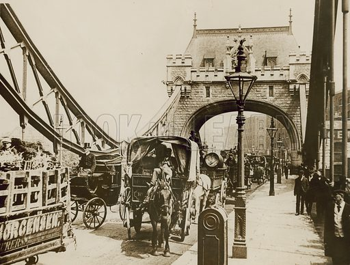 Traffic passing over Tower Bridge, London, shortly after opening in 1894.