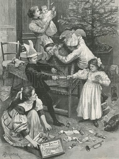 A group of children playing at Christmas