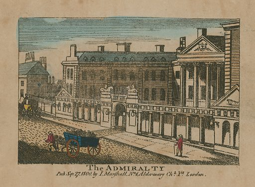 General view of The Admiralty, in Whitehall, London. Published in September 1800.