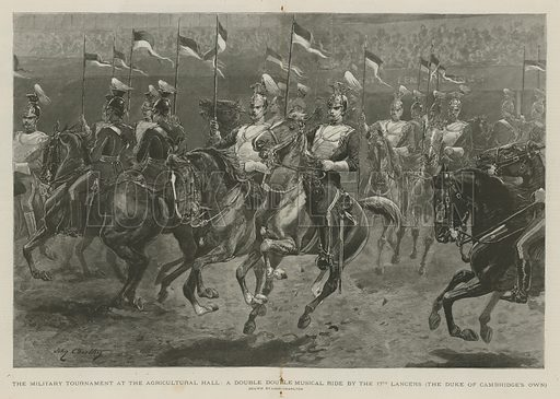 The military tournament at the Agricultural Hall: a double double musical ride by the 17th Lancers (the Duke of Cambridge's Own). Published in The Graphic, 28 May 1892.