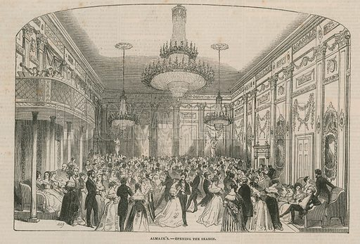 Almack's - opening the season. Published in the Illustrated London News, 1843.
