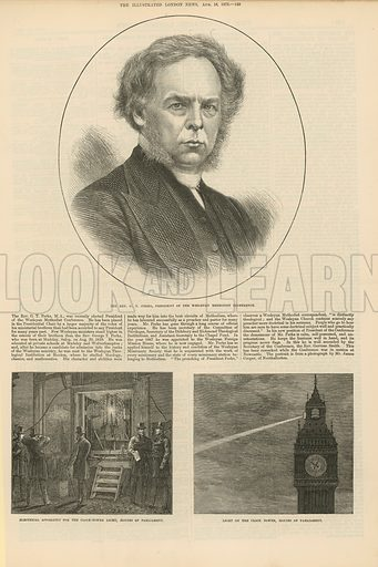 Page from the Illustrated London News (published on 16 August 1873), with illustrations depicting: the Rev G T Perks, President of the Wesleyan Methodist Conference; electrical apparatus for the clock tower light, Houses of Parliament; and the light of the clock tower, House of Parliament.