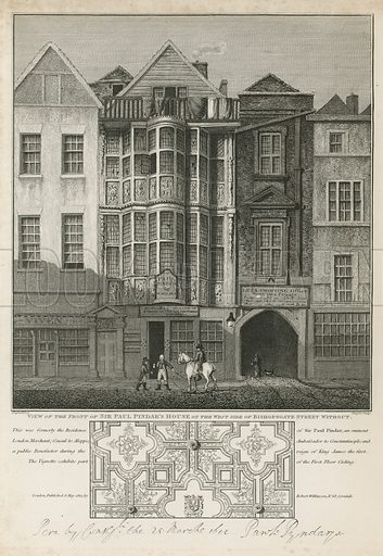 View of the front of Sir Paul Pindar's house on the west side of Bishopsgate Street, London. Pindar served as an ambassador of King James I to the Ottoman Empire.  Published in May 1812.