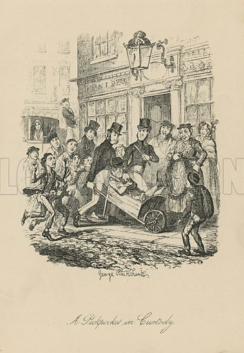 A pickpocket in custody, depicting a crowd of people around a handcart in which the pickpocket sits. Published in Sketches by Boz, by Charles Dickens, 1836.