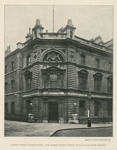 London Street intersections: Bow Street police office, London, designed by architect Sir John Taylor. Published in The Builder, 3 March 1911.