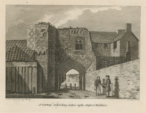 A gateway, called King John's Castle, Oldford, Middlesex. Published in July 1787.