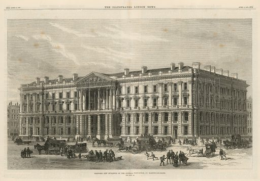 Double-page spread from the Illustrated London News (published on 9 April 1870), with an illustration depicting the proposed new buildings of the General Post Office, St Martin's-le-Grand, in the City of London.