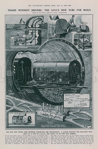 Page from the Illustrated London News (published on 11 June 1927), with illustrations depicting: Trains without Drivers: the General Post Office's New Tube for Mails.