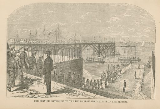 The convicts returning to the hulks from their labour in the Arsenal, Woolwich, London.
