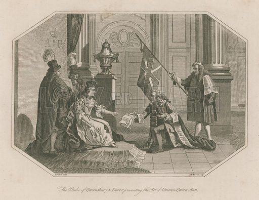 The Duke of Queensbury and Dover presenting the Act of Union to Queen Ann; published 3 September 1803.