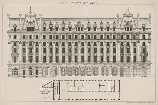 Holborn Viaduct Hotel, London; Lewis H Isaacs, architect; from The Building News, 15 December 1876.