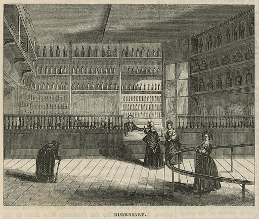 Royal Free Hospital, London: Dispensary; from Pictorial Times, 1843.