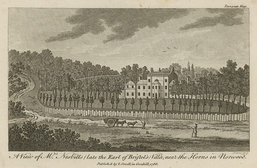 A view of Mr Nesbitt's (late the Earl of Bristol's) Villa, near the Horns in Norwood; published 1786.