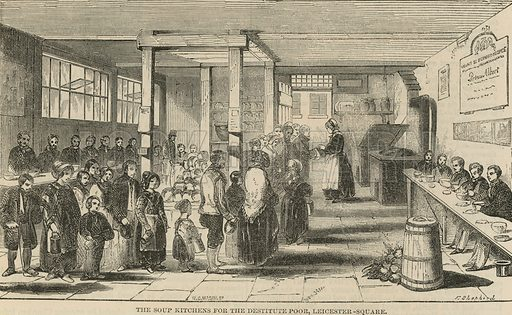 The soup kitchens for the destitute poor, Leicester Square, London
