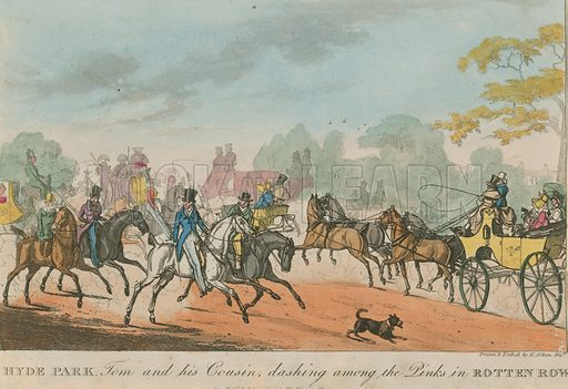 Hyde Park, London, Tom and his cousin dashing among the pinks in Rotten Row